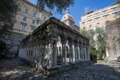 Saint Andrew cloister ruins near the house of Christopher Columbus, Casa di Colombo, in Genoa, Italy. royalty free stock image
