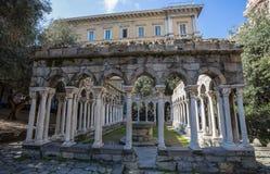 Saint Andrew cloister ruins near the house of Christopher Columbus, Casa di Colombo, in Genoa, Italy. stock photos