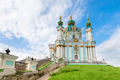 Saint Andrew orthodox church in Kyiv, Ukraine. Stock Images