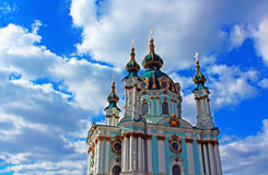 Saint Andrew orthodox church in Kyiv, Ukraine Stock Images