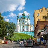 Saint Andrew orthodox church is a major Baroque church in Kyiv Stock Photo