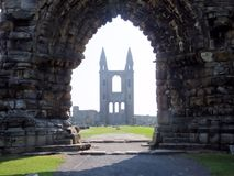 Saint Andrew`s cathedral, ruined Roman Catholic cathedral in St Andrew, Fife, Scotland royalty free stock photo