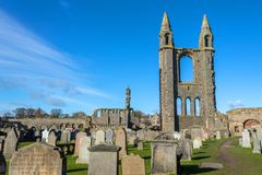 Saint Andrew`s cathedral. Ruined Roman Catholic cathedral in St Andrew, Fife, Scotland royalty free stock photography