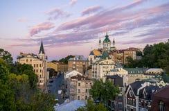 Old Center of Kiev City. Saint Andrew`s Church Andriyivskyy Descent in Kiev Royalty Free Stock Image