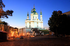 Saint Andrew's church in Kiev at dusk Stock Photography