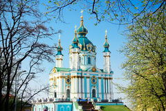 Saint Andrew's church in Kiev, Ukraine Stock Images