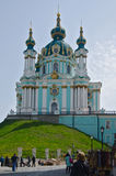 The Saint Andrew`s Church Kiev Ukraine. The Saint Andrew`s Church is a major Baroque church located in Kiev, the capital of Ukraine. The church was constructed Stock Images