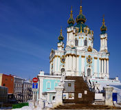 The Saint Andrew's Church in Kiev, Ukraine. Royalty Free Stock Photos