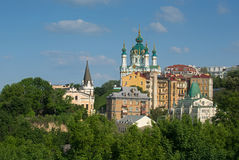 Saint Andrew`s Church with other buildings Royalty Free Stock Image