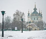 Saint Andrew's Church at the top of the Andriyivskyy Descent in Stock Images