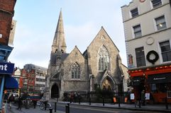 Saint Andrew street Dublin. View of the Saint Andrews Church Dublin. Ireland Royalty Free Stock Images