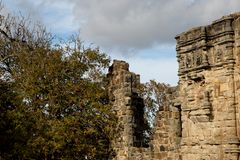 Saint Andrews Castle Scotland Ruined Walls in Autumn. Saint Andrews Castle Scotland ruined walls on an autumn day royalty free stock photography