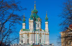 Saint Andrews cathedral in Kiev, Ukraine. Kiev, Ukraine - the capital of Ukraine is an intriguing mix of orthodox history and soviet heritage. Here in particular royalty free stock image