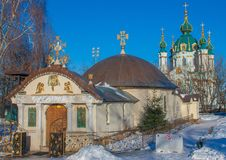 Saint Andrews cathedral in Kiev, Ukraine. Kiev, Ukraine - the capital of Ukraine is an intriguing mix of orthodox history and soviet heritage. Here in particular stock image