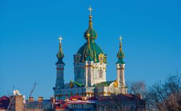 Saint Andrews cathedral in Kiev, Ukraine. Kiev, Ukraine - the capital of Ukraine is an intriguing mix of orthodox history and soviet heritage. Here in particular stock images