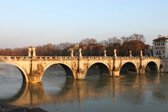 Saint Angel bridge in Rome Stock Photos