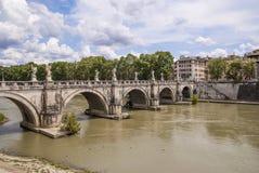 Saint Angel bridge. In Rome over the Tiber river Stock Photography