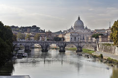 Saint Angel Bridge and Vatican City Stock Photo