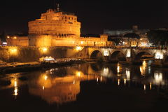 Saint Angel Castle and the Angels bridge by night Stock Image