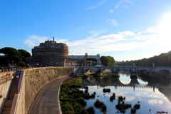 Saint Angel Castle and bridge Royalty Free Stock Image