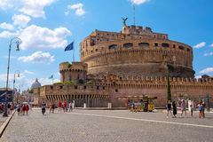 Saint Angel Castle and bridge across Tiber in Rome Stock Image