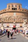 Saint Angel Castle and bridge across Tiber in Rome Royalty Free Stock Image