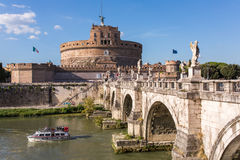 Saint Angel Castle and bridge over the Tiber river in Rome Stock Photography