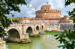 Saint Angel Castle and bridge over Tiber river in Rome. Italy Stock Images