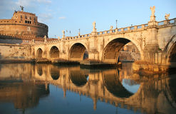 Saint Angel Castle and Bridge in Rome. Stock Images