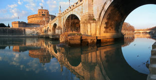 Saint Angel Castle and Bridge in Rome. Royalty Free Stock Photography