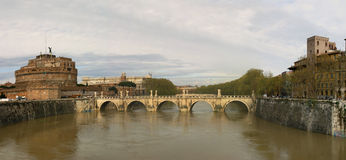 Saint Angel Castle and Bridge in Rome. Stock Photography