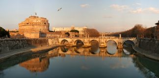 Saint Angel Castle and Bridge in Rome, Italy. stock images