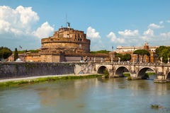 Saint Angel Castle and bridge in Rome, Italy Stock Photo