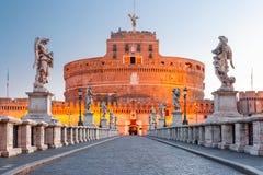Saint Angel castle and bridge, Rome, Italy Royalty Free Stock Image