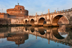 Saint Angel Castle and bridge in Rome Royalty Free Stock Photography