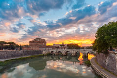 Saint Angel castle and bridge at sunrise, Rome Stock Photo