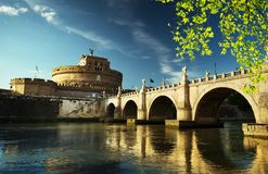 Saint Angel castle and bridge and Tiber river Royalty Free Stock Image