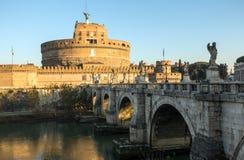 Saint Angel Castle Castel Sant Angelo and bridge Ponte Sant Angelo. Rome, Italy royalty free stock image