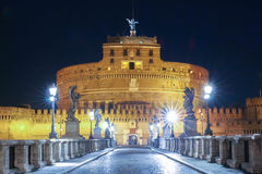 Saint Angel Castle Castel Sant Angelo and bridge Ponte Sant Angel, Rome, Italy Stock Photos