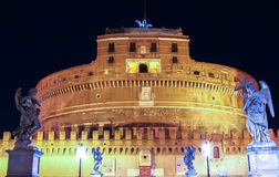 Saint Angel Castle Castel Sant Angelo and bridge Ponte Sant Angel, Rome, Italy Stock Images