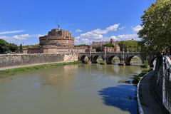 Saint Angel Castle and River Tiber in Rome, Italy Royalty Free Stock Image