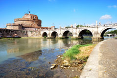 Saint Angel Castle, Rome. St. Angel Castle and bridge over the Tiber river, Rome, Italy Stock Image
