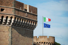 Saint Angel castle Rome flag Stock Photography