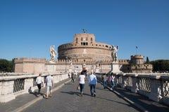 Saint Angel castle in Rome. Rome, Italy, CIRCA SEPTEMBER 2014: View on famous Saint Angel castle in Rome, Italy stock photo