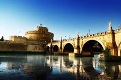 Saint Angel Fortress  and Tiber river in Rome Royalty Free Stock Image