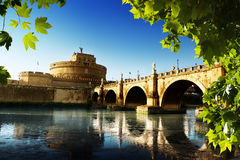 Saint Angel Fortress  and Tiber river in Rome Stock Photography