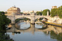 Saint Angel in Rome. View of Sant'Angelo Bridge and Sant'Angelo Castle in Rome (Saint Angel Royalty Free Stock Photos