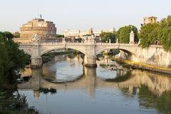 Saint Angel in Rome. View of Sant'Angelo Bridge and Sant'Angelo Castle in Rome (Saint Angel royalty free stock photos