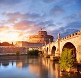 Saint Angelo Castle and bridge over the Tiber river in Rome Stock Image