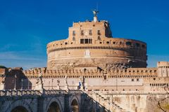 Saint Angelo Castle and Saint Angelo Bridge over Tiber River in Stock Images